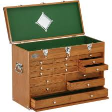grizzly h8266 machinist u0027s 14 drawer oak chest wooden tool chest
