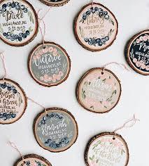 custom lettered wood ornaments painted wood slice