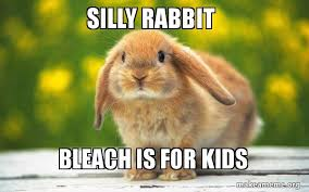 Silly Rabbit Meme - silly rabbit bleach is for kids regretful rabbit make a meme