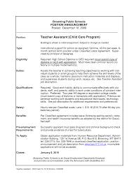 Sample Cover Letter Teacher Assistant Child Care Teacher Resume Sample Resume For Your Job Application