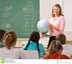 Photography Teacher Teacher Explaining Globe To Students Royalty Free Stock
