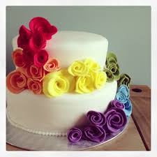 rainbow wedding cake i could put the real flowers on instead