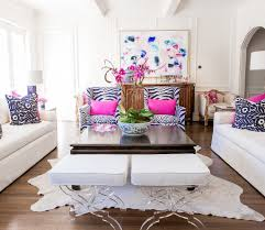family room reveal blue and white with pops of pink
