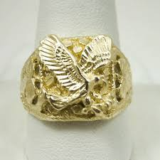 large gold ring necklace images Brand new solid 14k yellow gold large mens eagle leaf nugget ring jpg
