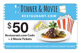 dinner and a gift card 50 restaurant gift card 2 free fandango tickets