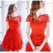 2017 women floral lace dresses short sleeve party casual color