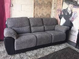 Fabric Recliner Sofa New Santori 3 Seater Fabric Recliner Sofa In Black And Charcoal