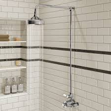 traditional designer chrome mixer shower head exposed thermostatic bathroom mirrors