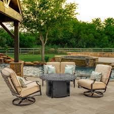 Patio Furniture Conversation Sets - carondelet 4 piece cast aluminum fire pit outdoor conversation set
