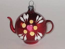 antique glass teapot ornament west german vintage