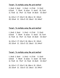 multiplication practice grid method differentiated by