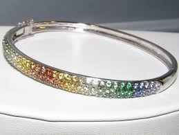 color bangle bracelet images Fancy multi color sapphire pave bangle bracelet 18kwg 5 00 ctw jpg