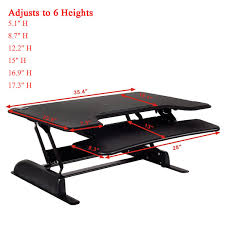 6 level height adjustable ergonomic sit stand computer desk
