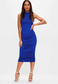 blue dress blue ruched side high neck midi dress missguided