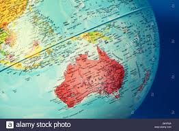 Australia On A World Map by Australia On Globe Stock Photo Royalty Free Image 57158370 Alamy