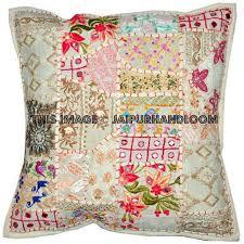 24x24 white bohemian patchwork floor cushions handmade sofa pillows