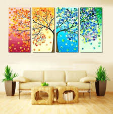 wall ideas 4 piece frameless colourful leaf trees canvas