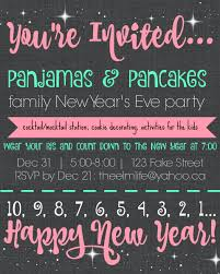 pajamas u0026 pancakes family new year u0027s eve party invitation template