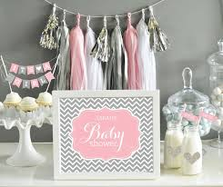 baby shower girl decorations pink and grey baby shower decor pink and gray chevron baby
