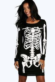 Ladies Skeleton Halloween Costume by Maddie Halloween Skeleton Bodycon Dress Boohoo