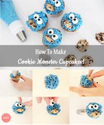 how to make cookie monster cupcakes using russian piping tips