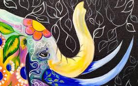 bohemian elephant easy acrylic painting for beginners