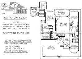 1 Story 4 Bedroom House Floor Plans Narrow 2 Story Floor Plans 36 50 Foot Wide Lots