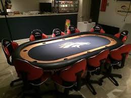 buy denver broncos poker table and 10 chairs in cheap price on