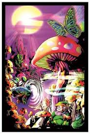 large black light posters magic valley psychedelic shroom black light poster 23x35 black