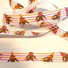monkey ribbon birthday sock monkey ribbon stripes clearance