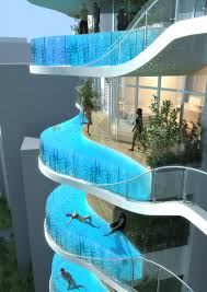whoa these luxury condos have a private pool on every balcony