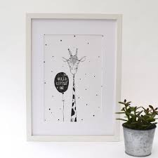 hello little one u0027 hand drawn illustrated giraffe print by