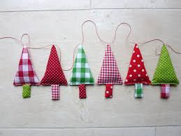 fabric christmas tree garland banner bunner in green by fromjeanne