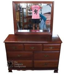 Bedroom Dresser With Mirror Hungerford Solid Cherry Colonial Style 7 Drawer Bedroom Dresser