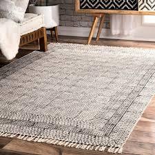 Flat Weave Cotton Area Rugs Nuloom Handmade Flatweave Sparkling Cotton Fringe Ivory Rug 7 6 X