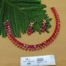 ruby necklace set images Ruby stones leaves design gold plated finish necklace set buy online jpg