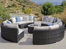 canapé de jardin en résine tressée salon de jardin rond hévéa salermo résine tressée gris foncé 12 places