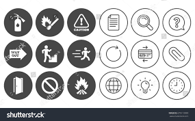 fire safety emergency icons fire extinguisher stock vector