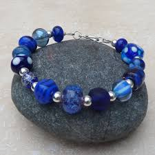 Handmade Jewellery Bristol - blue lwork glass bead and sterling silver bracelet brc009