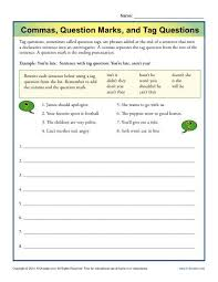 commas question marks and tag questions punctuation worksheets