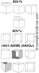 how to draw boxes and cubes and how to shade them step by step