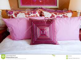 Red Bed Cushions Pretty Fun Pink Bedroom Cushions Stock Images Image 9518794