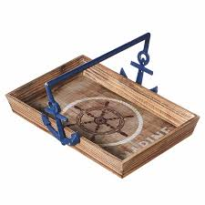 marine compass wood tray blue metal anchor handles midwest cbk