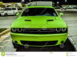 Dodge Challenger Green - 2015 lime green dodge challenger hemi front shot stock photo
