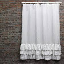 White Ruffle Curtains Washed Layered Ruffles Linen Shower Curtain Fabric Shower
