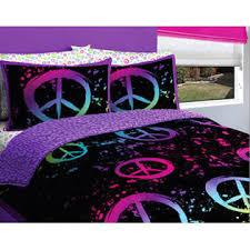 Purple U0026 Pink Teen Bedding by Creative Kids Black Purple U0026 Pink Peace Signs Teen Girls Twin