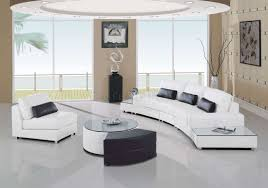 White Leather Sectional Sofas Leather 5pc Modern Sectional Sofa W Glass Top End Tables