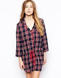 asos asos woven check night shirt dress