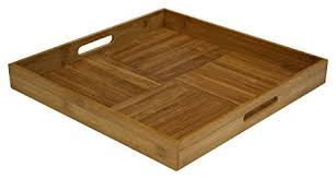 amazon com simply bamboo square ottoman serving tray 17