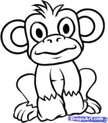 how to draw a monkey coloring pages to print